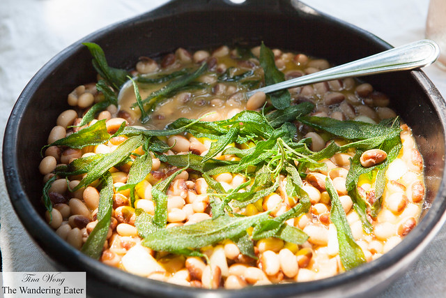 Cayuga yellow eye beans cooked over the fire with fried sage and new garlic