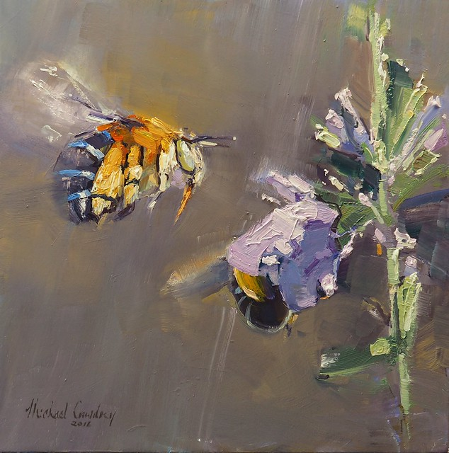 Oil Painting Of Blue Banded Bees