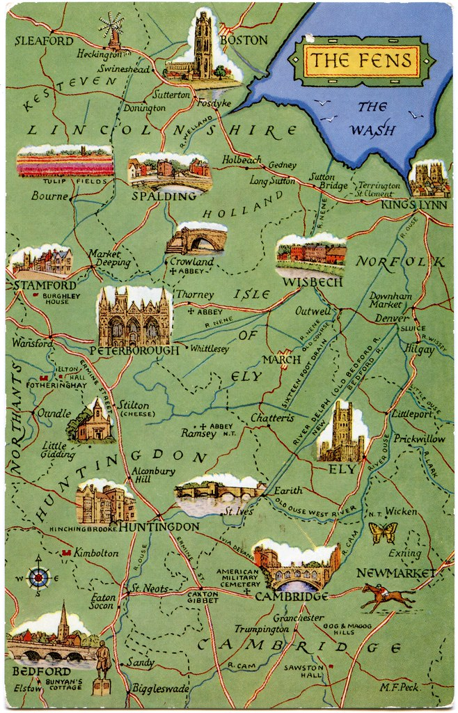 The Fens Map Postcard map of the Fens | Drawn by M F Peck. J Salmon Ltd.,… | Flickr