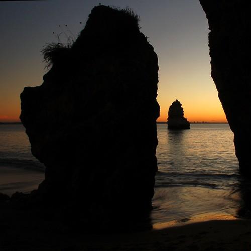 morning sea colour beach portugal backlight sunrise rocks clear rockform
