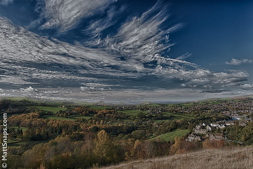 blue trees houses sky grass clouds view hills valley fields common stroud hdr