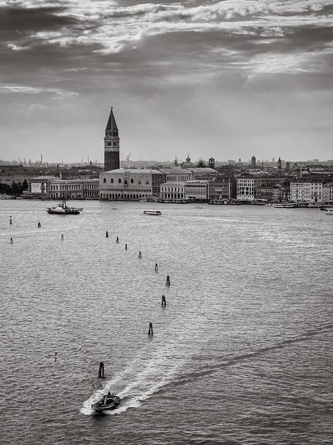 Across the Venetian lagoon.