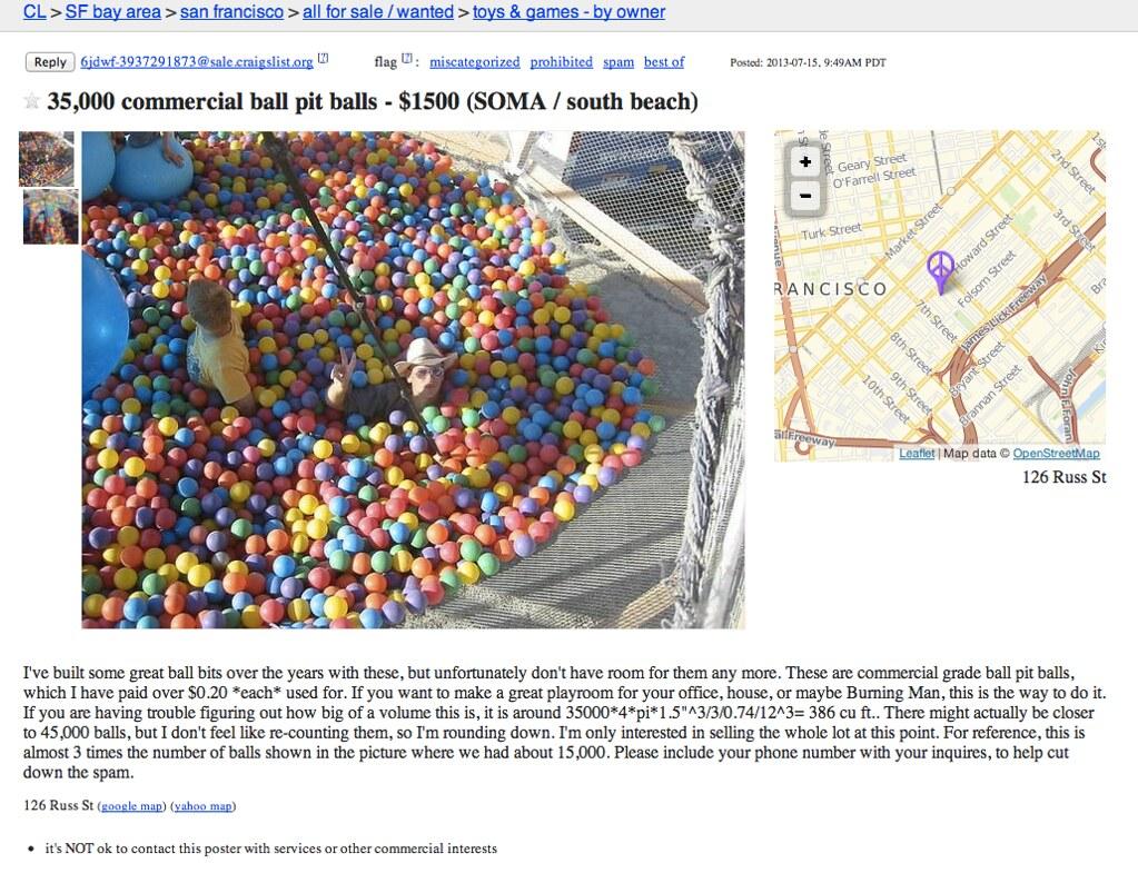 35 000 Commercial Ball Pit Balls Sfbay Craigslist Org Sfc Flickr