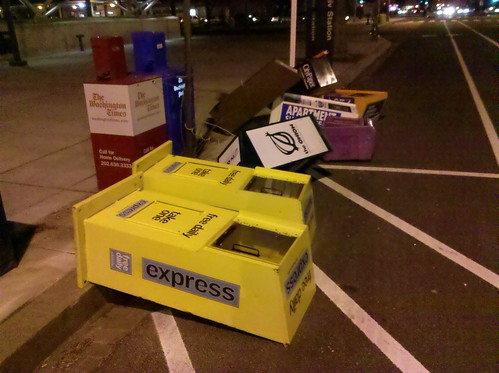 Newspaper boxes at Shaw-Howard U Metro station