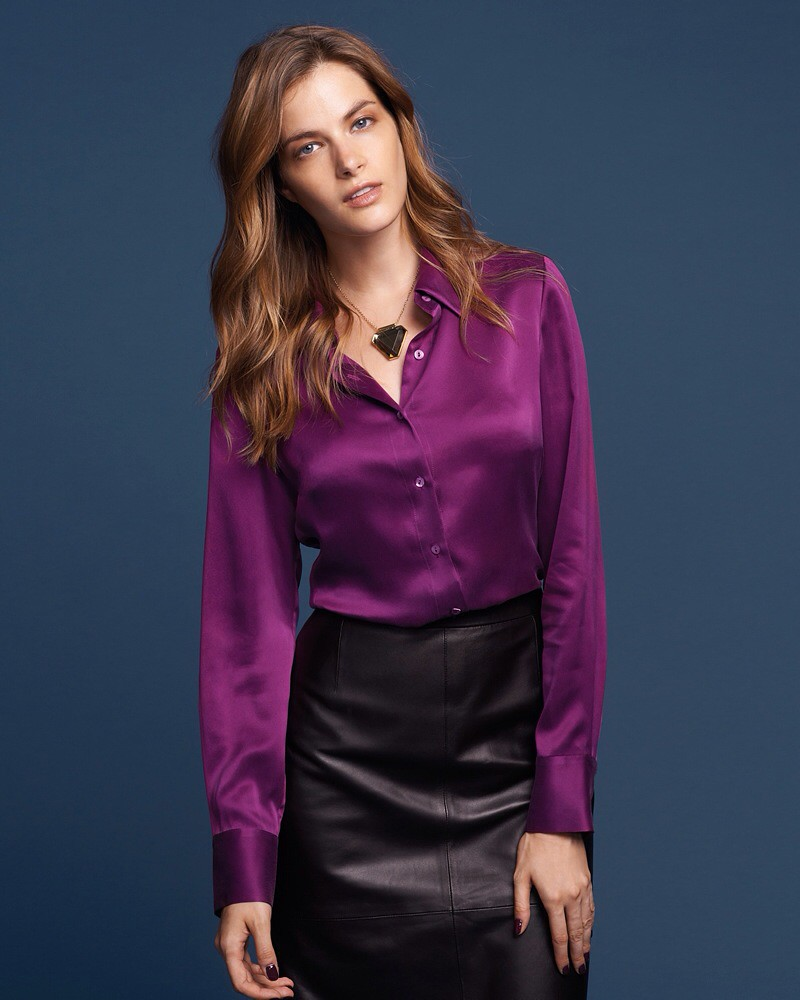 80590ef5 ... Purple satin button up shirt & black leather skirt | by ejt1977