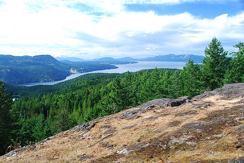 Saanich Inlet viewed from Mount Work Park, Highlands, Victoria, Vancouver Island, British Columbia, Canada