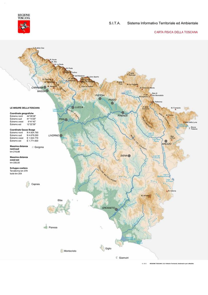 Cartina Geografica Della Toscana.Repertorio Cartografico 2013 Carta Fisica Della Toscana Flickr