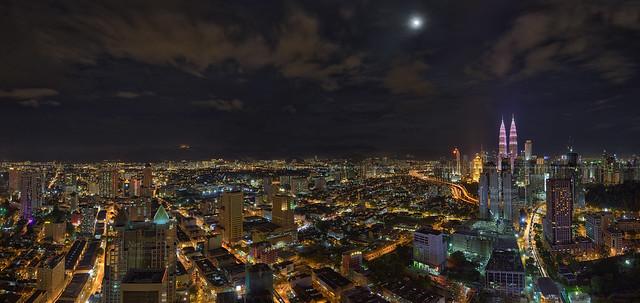 Kuala Lumpur City Night Panorama