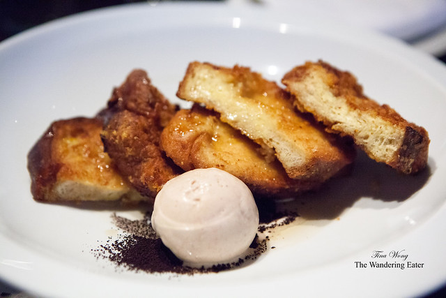 Churros French toast with coffee ice cream