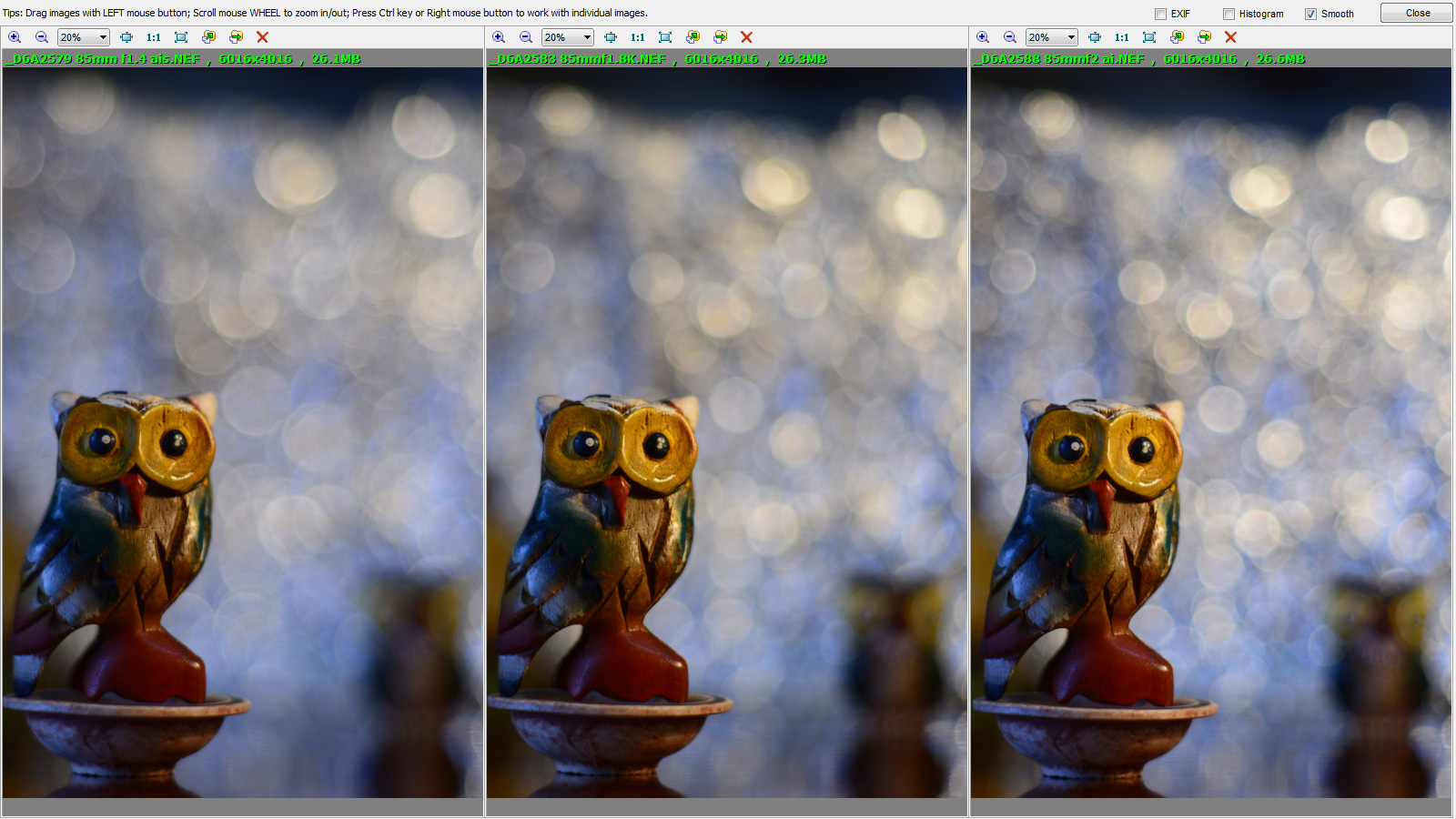 85mm-bokeh-wide-open | Wide open: Left to right: 85mm f/1 4