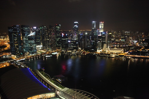 Singapore skyline at night from Marina Bay Sands | by Ryan Buterbaugh