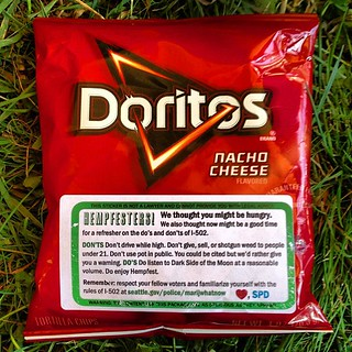 Complimentary bag of #Doritos handed out by the @SeattlePD cops at @SeattleHempfest #marijuana #uspoli   by Cannabis Culture