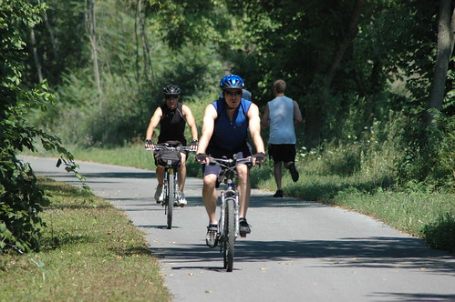 Photo of bikers and runners on Western Maryland Rail Trail