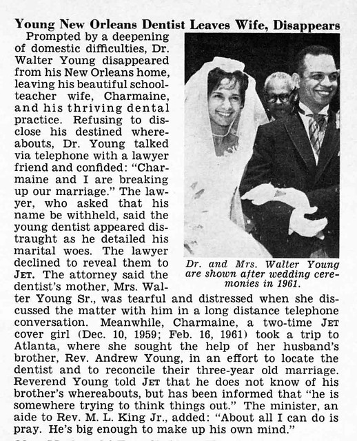 Young New Orleans Dentist Disappears - Jet Magazine, June 4, 1964