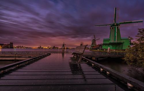zaanseschans windmill dutchlandscape longexposure sunset