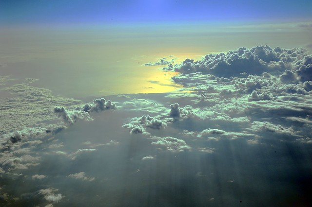 Entrance to heaven, cloudscape over Oregon state and the Pacific Ocean, from Alaska Airlines jet, West Coast, USA