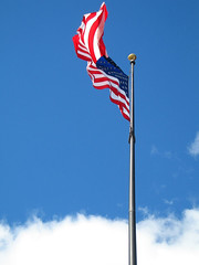 American Flag Flying above Clouds | by Sharon Mollerus