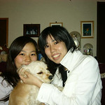 with my sister and her dog