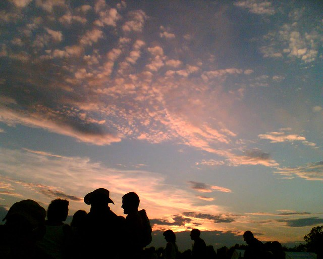 Sunday silhouette sunset at the Isle of Wight Festival