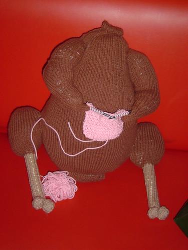 Matthew's knitting turkey | by katbaro