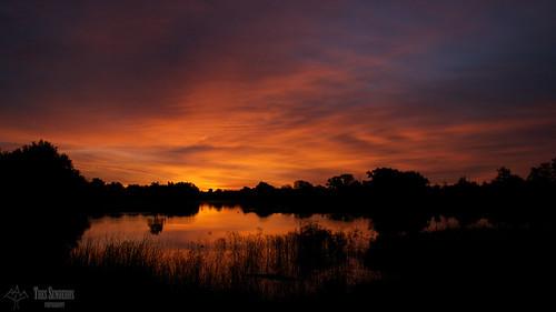 sky lake reflection oklahoma colors clouds sunrise landscape norman