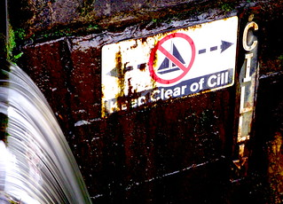 Maryhill Locks Flight ,warning sign