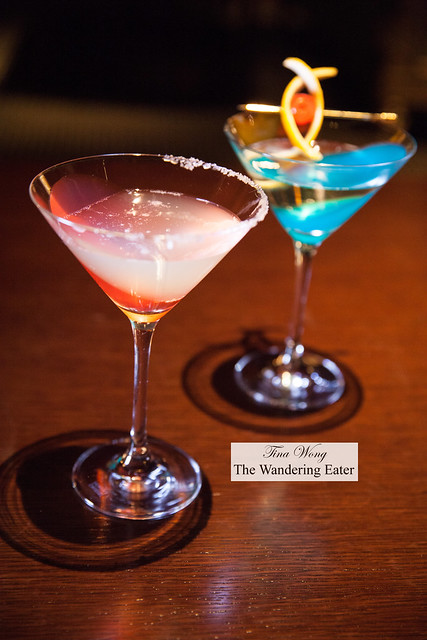 (Pink drink) Hibiscus flavored jelly and Champagne; Awamori and pear jelly combined with peach and Champagne (blue drink)