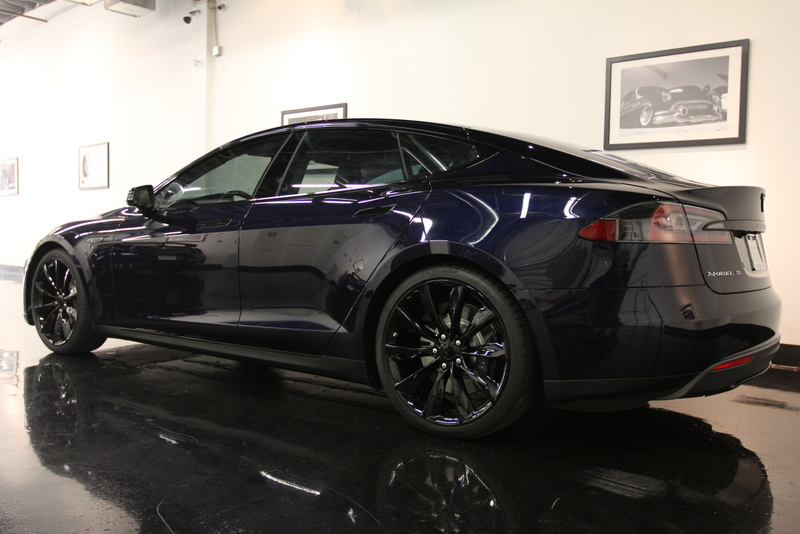 Tesla Model S P85 With Full Front Clear Bra, Blacked out C… | Flickr