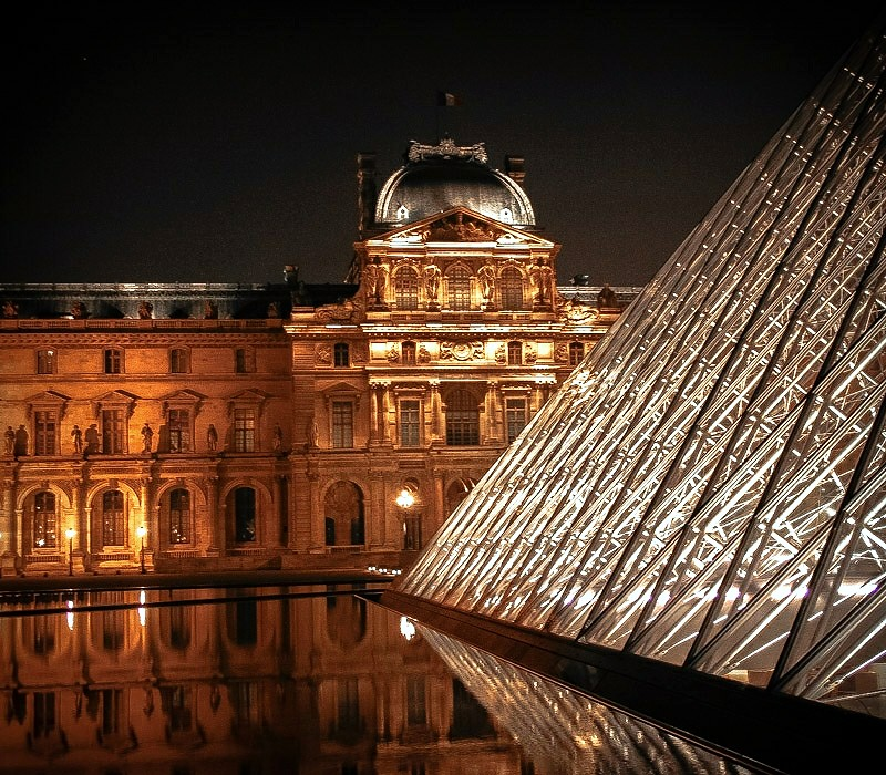 Night View: Louvre and Pei Pyramid