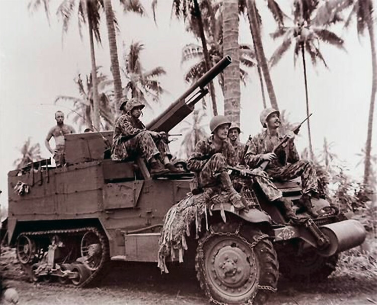 Marines with 75mm gun pushing up to front on Bougainville