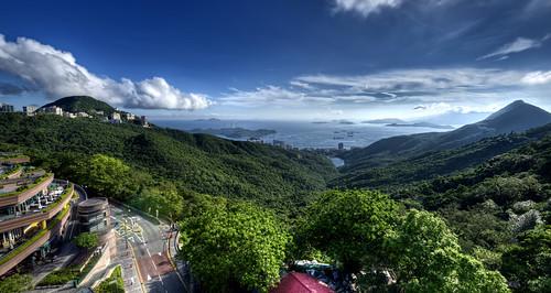 china sea sky haven mountains green hongkong islands asia paradise sunny hills lush victoriapeak nikond800