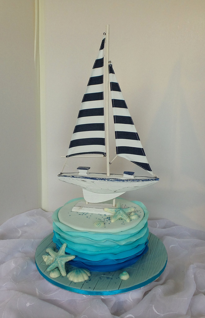 Superb Nautical Themed Birthday Cake With Chocolate Sea Shells An Flickr Personalised Birthday Cards Veneteletsinfo