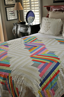 Log Cabin Quilt with Mirror Ball Dot Fabric
