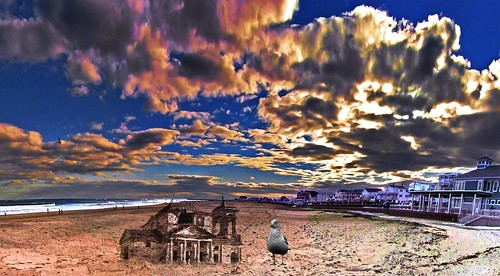 sand castle hampton beach new hampshire usa sea gull colorful clouds holmes ocean atlantic ruins windblown for birds photoshop flickr google bing daum yahoo image stumbleupon facebook getty national geographic montage manipulation creativity recolored reworked digital art landscape wide horizon photo pin interesting creative color surreal avant guarde pinterest tinder tumbler unique unusual fascinating life outside