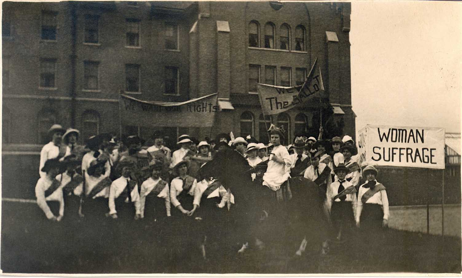Suffragists in front of Williston Hall at NIU, ca. 1916