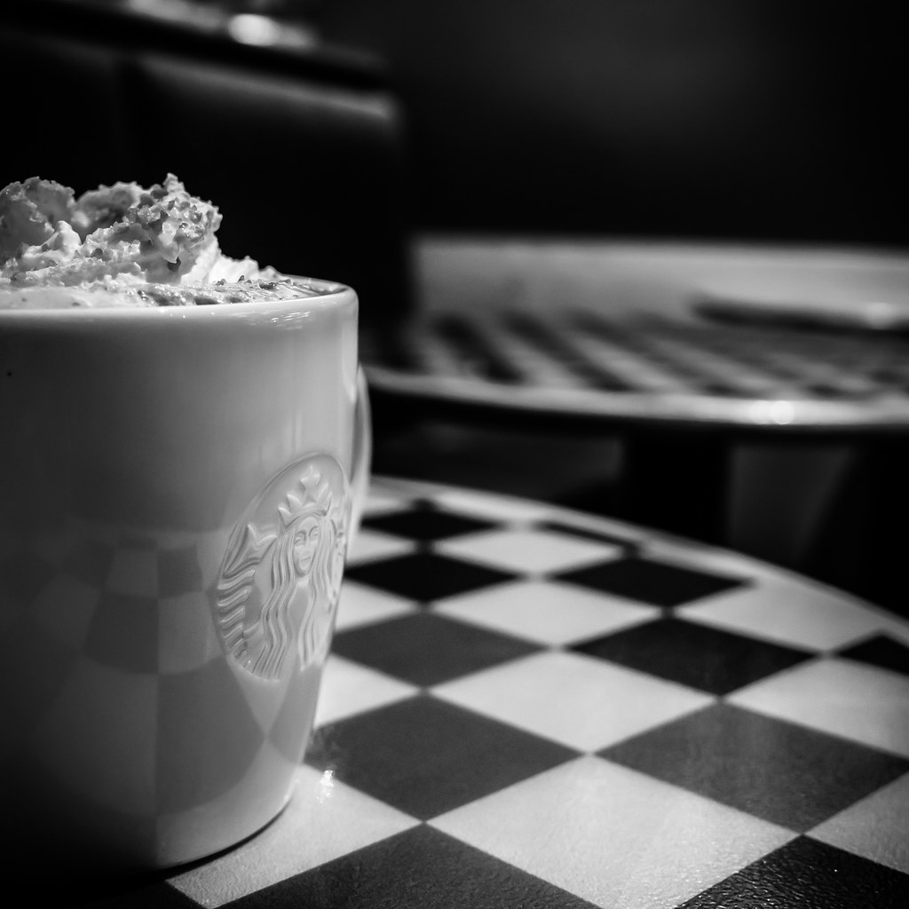 Toffe nut latte in starbucks black and white photo by giuseppe milo www