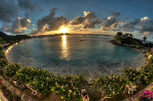 ocean sunset sea beach water beautiful clouds saintmartin lagoon stmartin fisheye caribbean stmaarten hdr sintmaarten grandcase