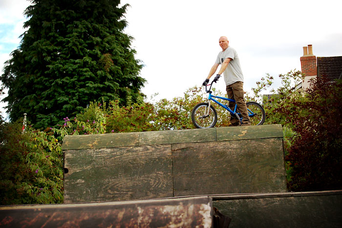 Tim, king of the Castle at his back yard ramps