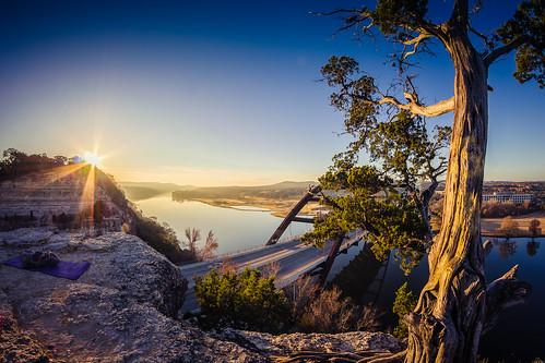 lake sunrise austin river texas unitedstates newyear lakeaustin pennybackerbridge