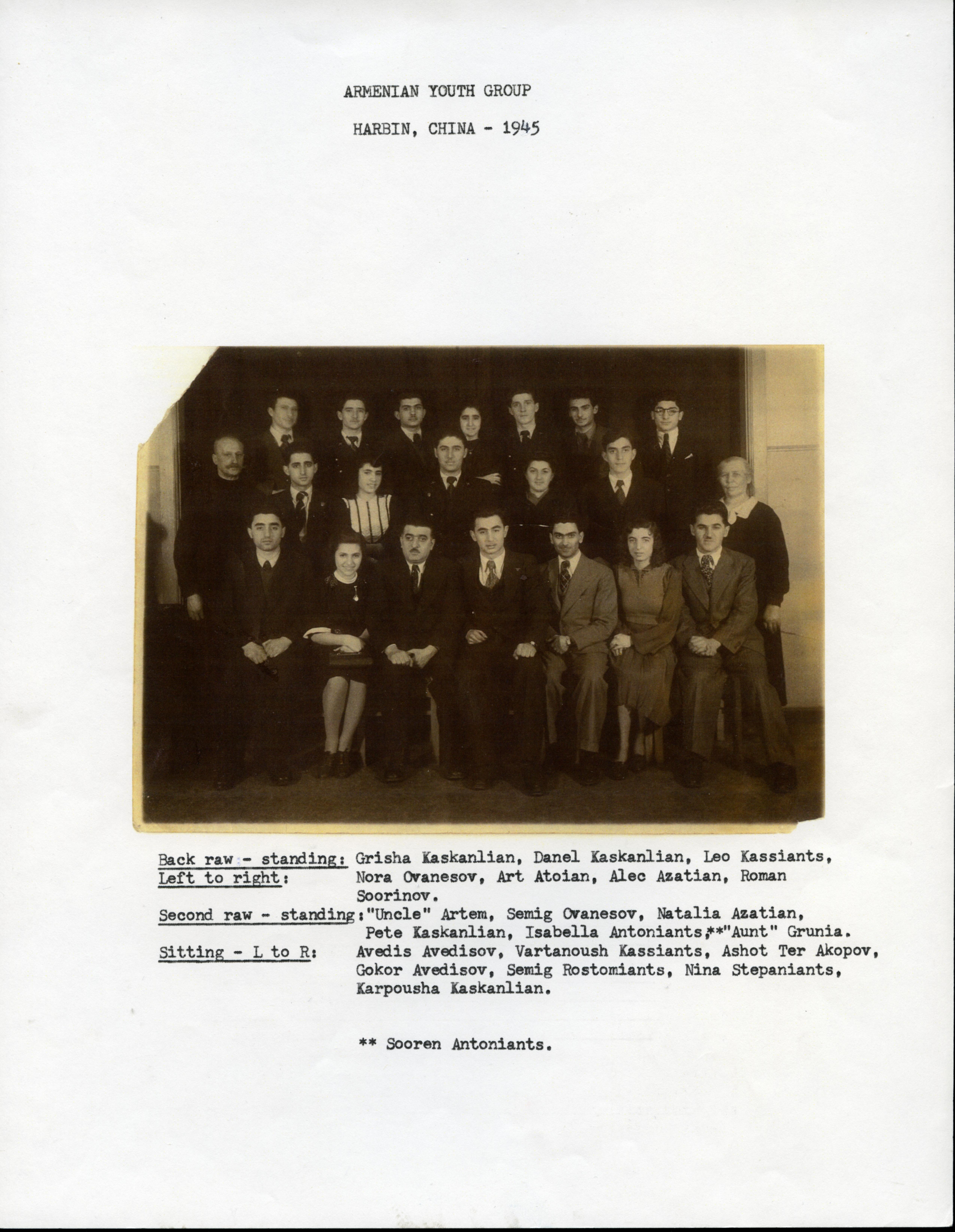 Armenian youth group, Harbin, China, c. 1945