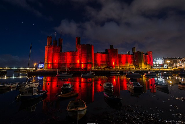 Caernarfon Castle lit red to commemorate the 100th anniversary of the Battle of the Somme