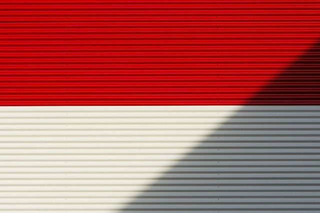 Shadow on red and white wall