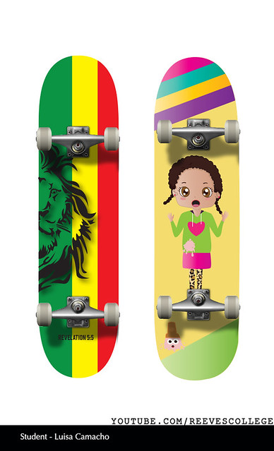 Skateboard Deck Design Adobe Illustrator CS6 by Reeves College Student Luisa C