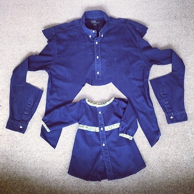 Upcycle daddy's shirt to Megan's dress!