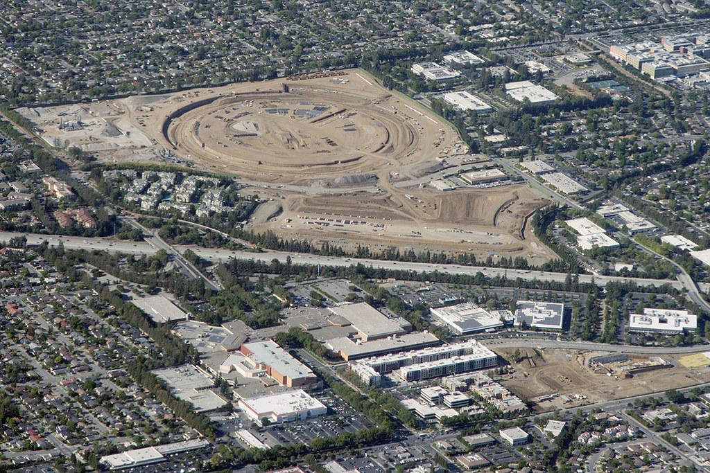 Above the future Apple Inc  headquarters, Cupertino, Calif