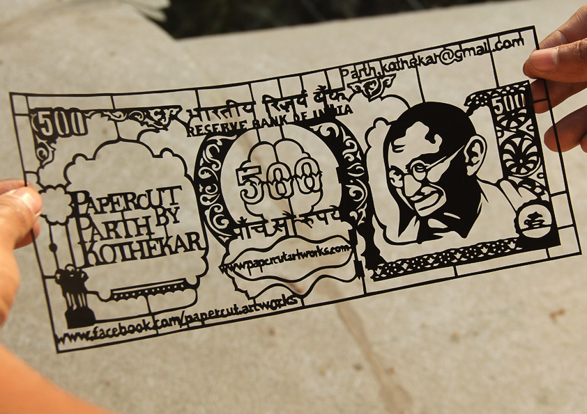 Papercut art - Indian 500 rupees note   Daily Updates @ Face