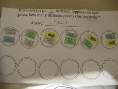How many different pizzas can you make using two ingredients for the toppings? Can students determine whether they have all of the combinations and have not duplicated any? (March 2011, Gr 3)