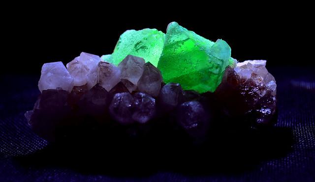 Green Octahedral Fluorite on Quartz Mineral Specimen from Orange River Region