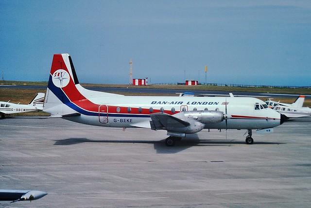 G-BEKE Hawker Siddeley 748 srs 1 --- Jersey 28-7-85