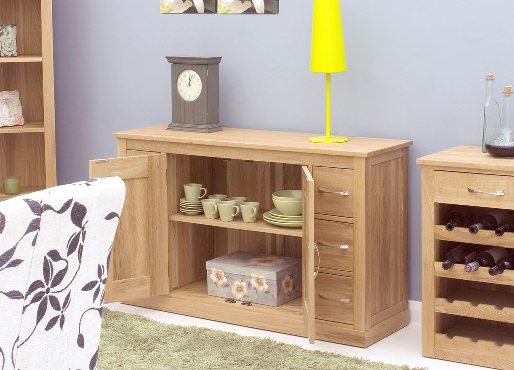 COR02B3 Mobel Oak Large 3 Drawer Bookcase Mobel Oak Low